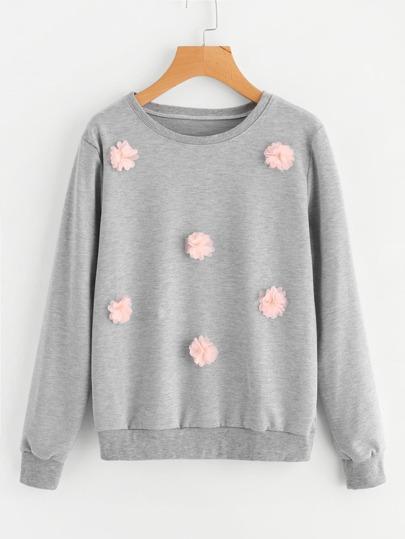 3D Flower Appliques Marled Sweatshirt