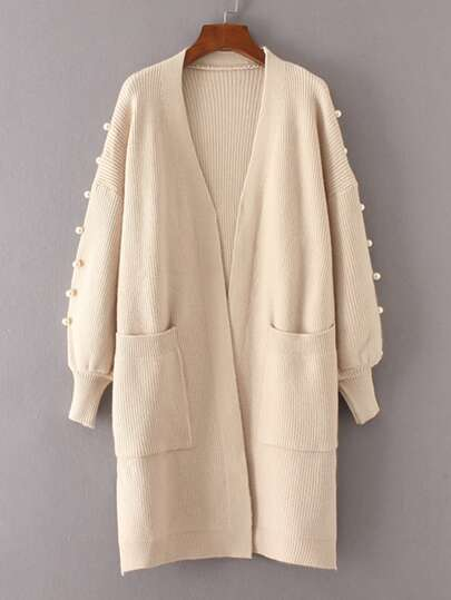 Faux Pearl Detail Ribbed Knit Longline Cardigan