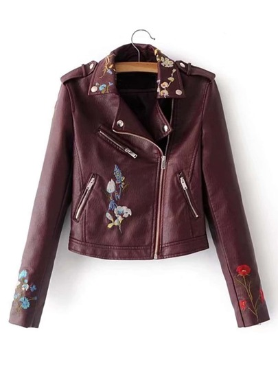 Embroidered Flower Moto PU Jacket