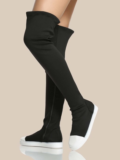 Round Toe Lycra Thigh High Boots BLACK