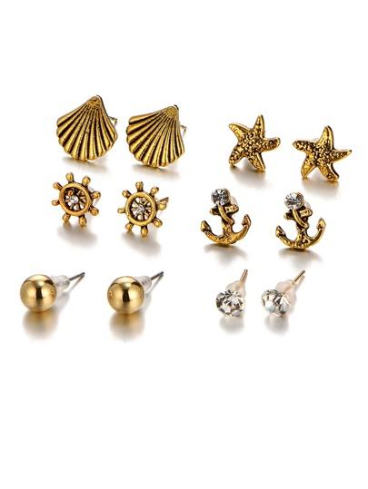 Star & Shell Design Earring Set 6 Pair