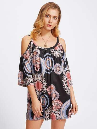 Geo Print Cold Shoulder Dress