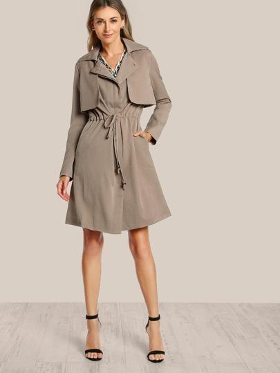 Shirred Waist Trench Coat TAN
