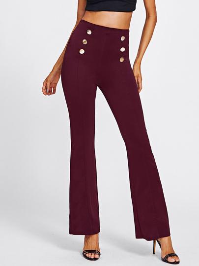 Pantalones de cintura alta con doble filas de botones