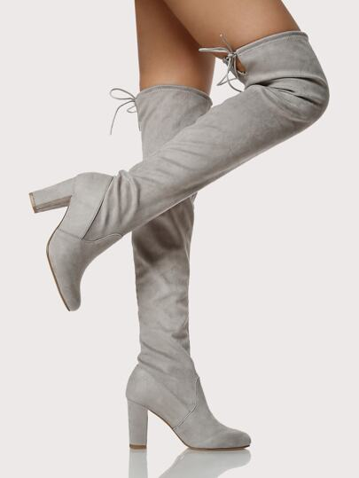 Faux Suede Back Tie Thigh High Boots LIGHT GREY
