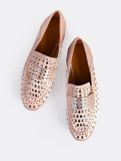 Satin Studded Loafers BLUSH