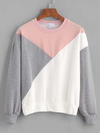 Sweatshirt Drop Schulter - kontrastfarbig