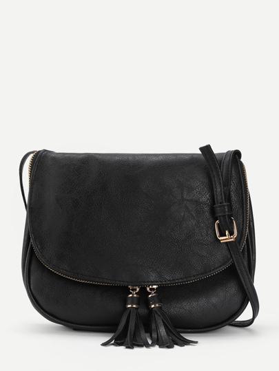 Модная кожаная сумка с бахромой