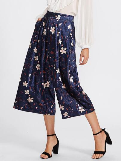 Botanical Print Wide Leg Velvet Pants