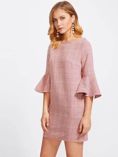 Trumpet Sleeve Zip Back Plaid Dress