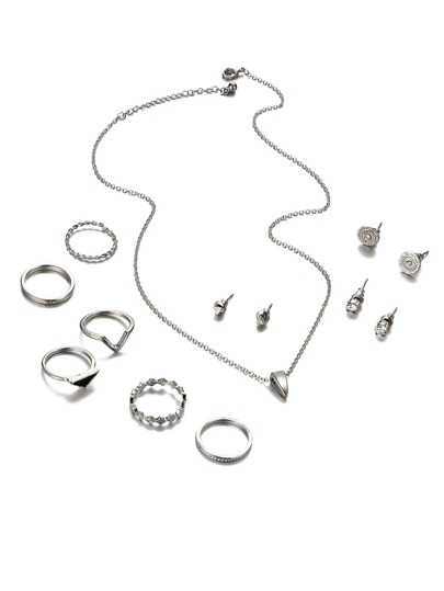Multi Shaped Rings & Pendant Chain Necklace Set