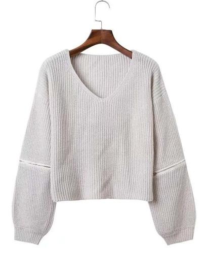 Jersey de manga con cremallera de cuello en V