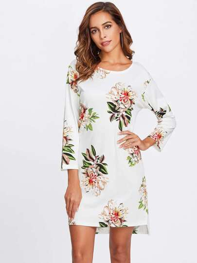 Flower Print High Low Dress