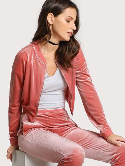 Velvet Zip Up Jacket MAUVE