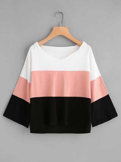 Color Block Jersey Hooded Sweater