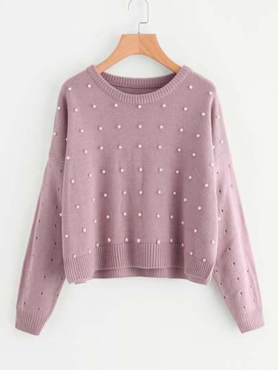 Drop Shoulder Pearl Embellished Eyelet Sweater