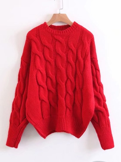 Cable Knit Drop Shoulder Jumper Sweater