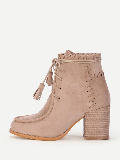 Tassel Lace Up Block Heeled Ankle Boots