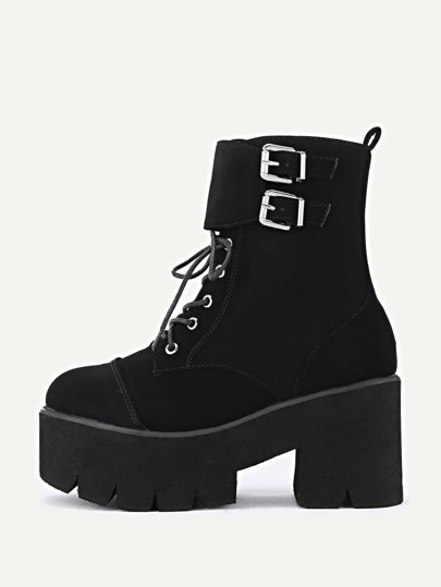 Double Side Buckle Lace Up Suede Boots
