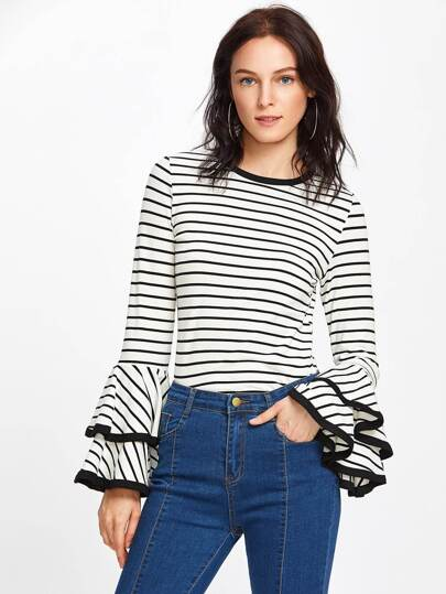 Contrast Binding Tiered Bell Sleeve Striped Tee