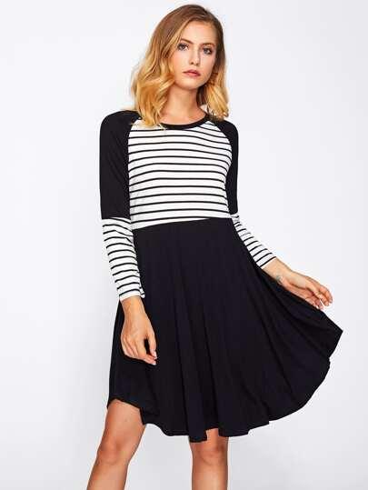 Raglan Sleeve Contrast Striped Dress