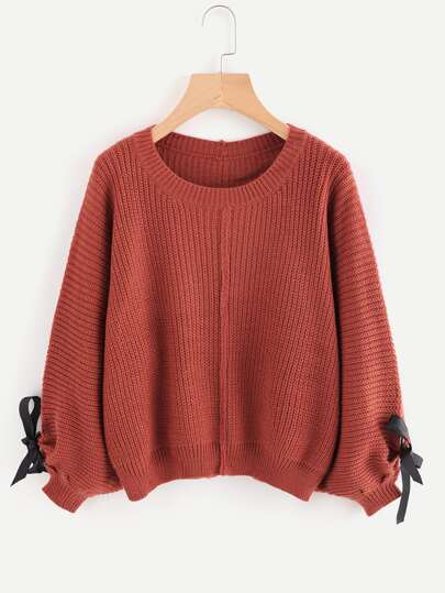Ring Bow Tie Sleeve Texture Knit Sweater
