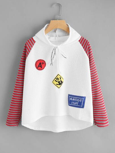 Contrast Striped Raglan Sleeve Textured Hoodie With Patch