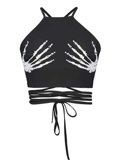 Halloween Skeleton Hand Tie Detail Top