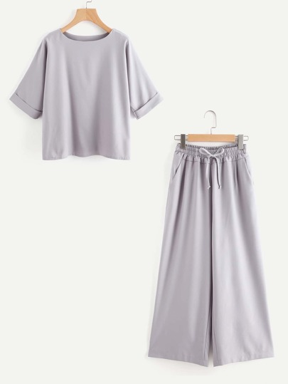 Cuffed Top With Wide Leg Pants
