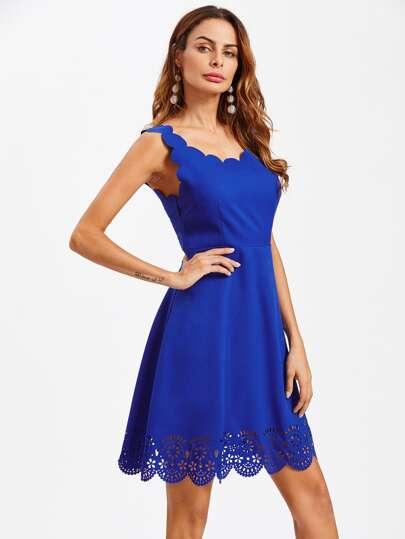 Scallop Edge Laser Cut Fit & Flare Dress