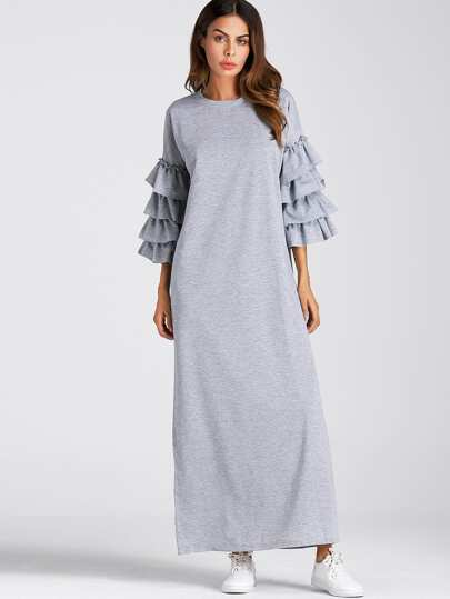 Tiered Frill Sleeve Full Length Dress