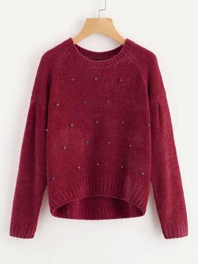 Rhinestone Detail Raglan Sleeve Chenille Sweater