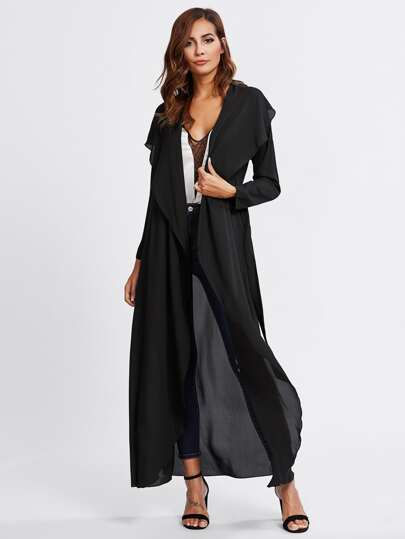 Shawl Collar Dolman Sleeve Belted Abaya