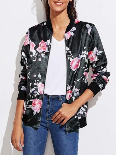 Floral Velvet Bomber Jacket