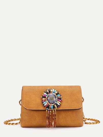 Модная сумка на цепочке с бисером