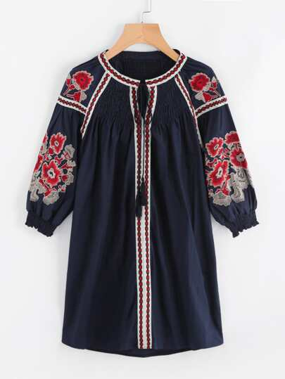 Embroidered Tape Shirred Detail Tassel Tie Dress