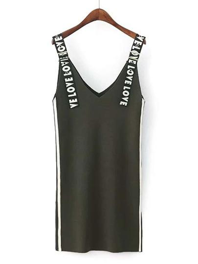 Slogan Strap Knit Dungaree Dress