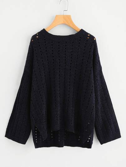 Stepped Hem Eyelet Marled Knit Sweater