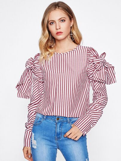 Bow Tie Sleeve Striped Blouse