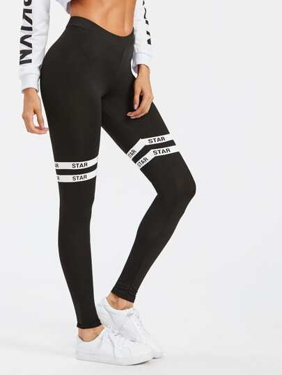 Leggins de panel de rayas