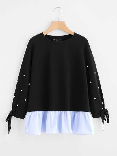 Tied Cuff Pearl Beading Ruffle Hem Pullover