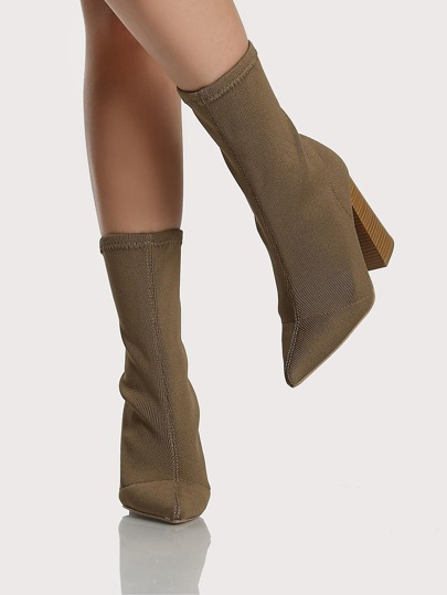 Point Toe Stitchwork Fabric Booties TAUPE