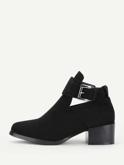 Buckle Detail Block Heeled Boots
