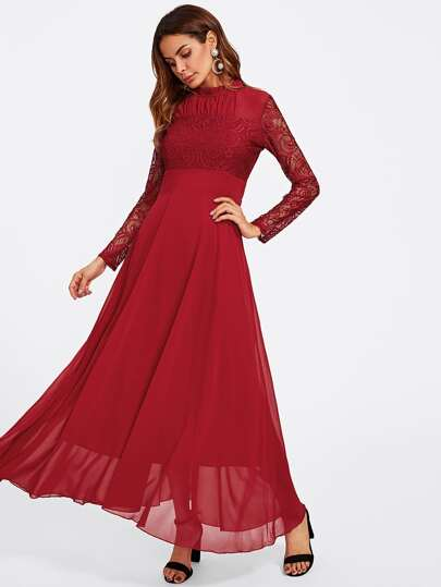 Smocked Neck Lace Bodice Empire Waist Dress