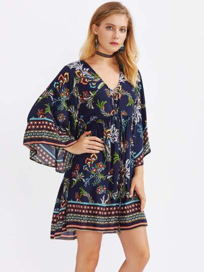 Lace Up Front Bell Sleeve Smock Dress