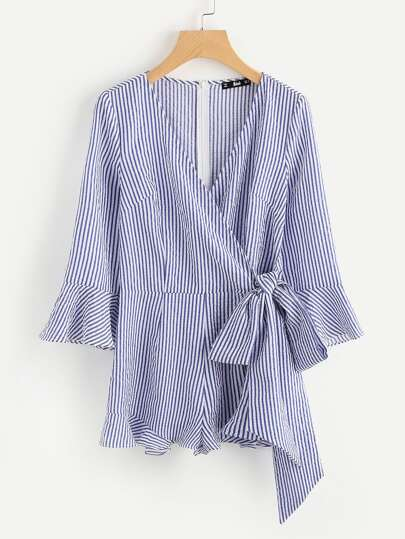 Bell Sleeve Frilled Trim Surplice Wrap Romper