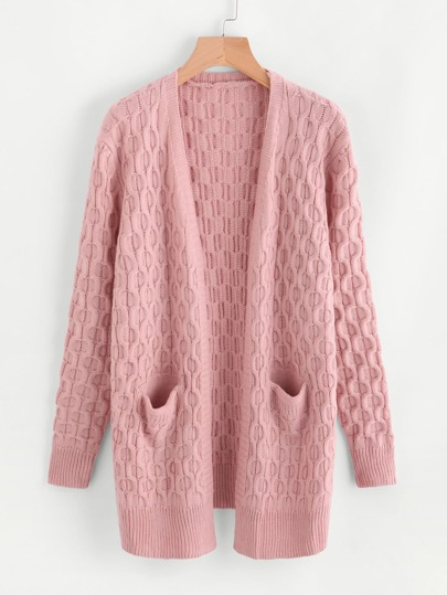 Dual Pocket Textured Geo Pattern Sweater Coat