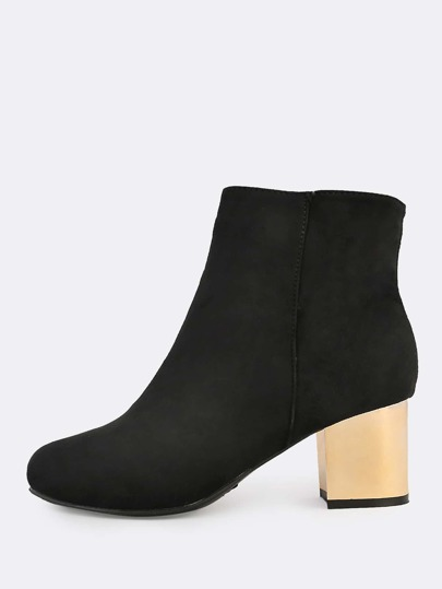 Faux Suede Gold Heel Boots BLACK