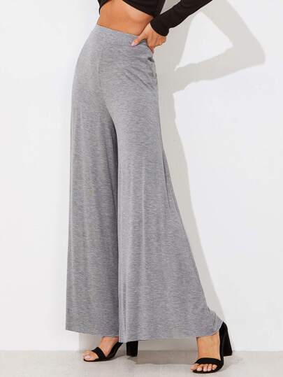 Elasticized Waist Super Wide Leg Heathered Pants
