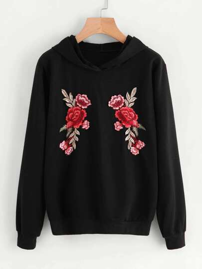 Embroidered Rose Applique Hoodie
